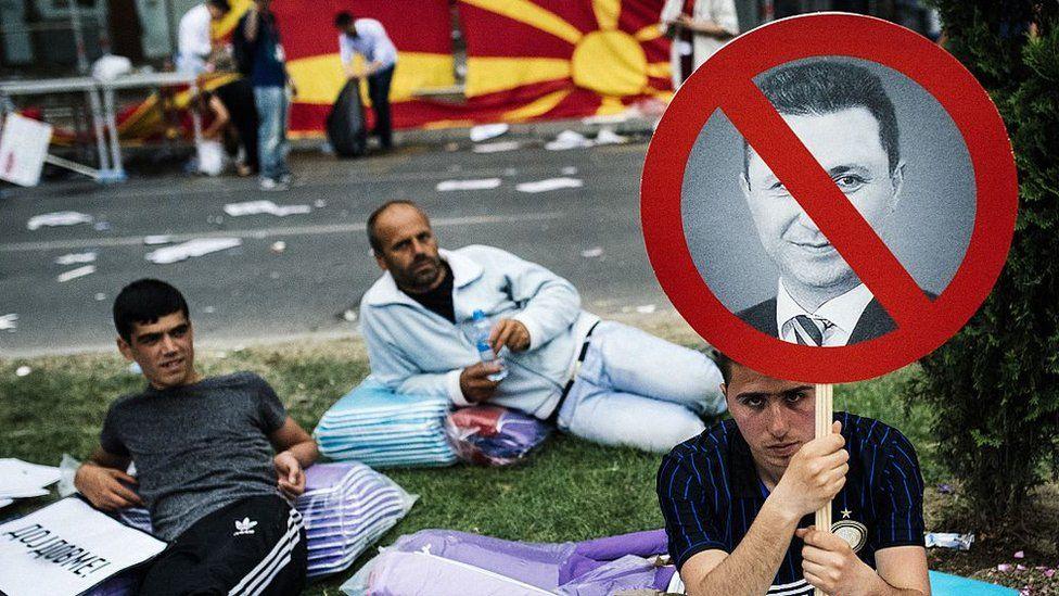 Protesters against Nikola Gruevski in Skopje
