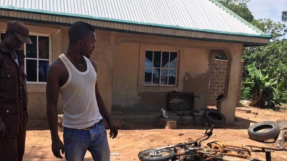 Burnt bike in Mbalom