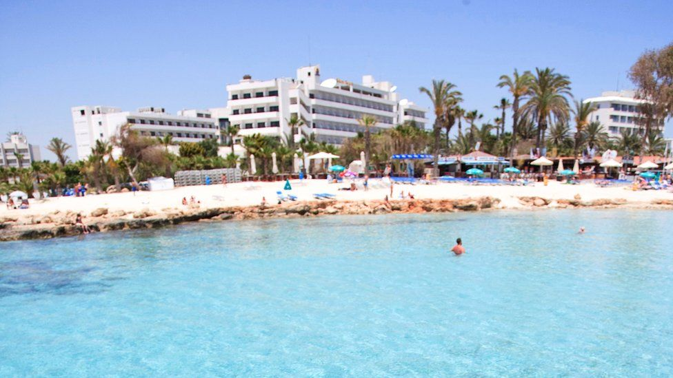 View of a beach hotel in Cyprus
