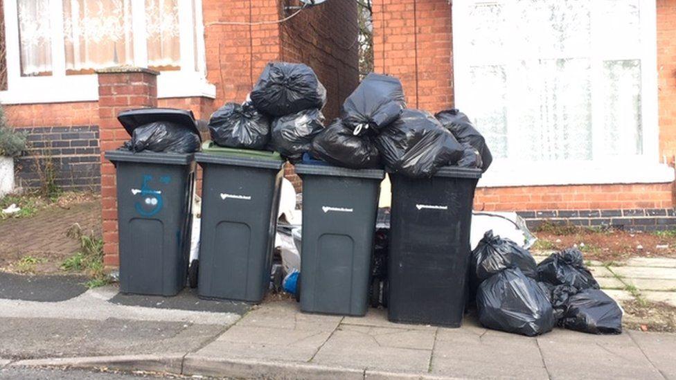 Rubbish piled in Erdington, Birmingham in February