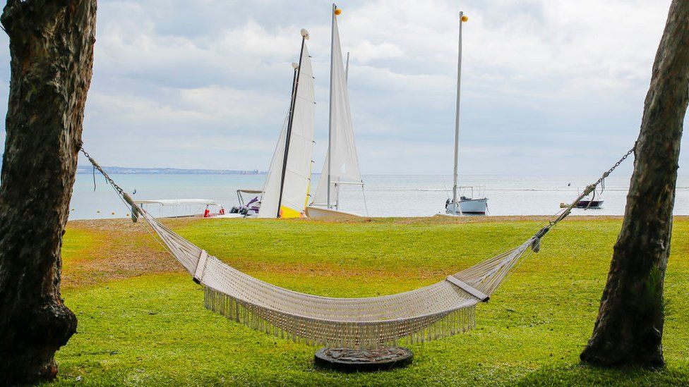 A hammock next to the beach and Indian Ocean at The Oberoi Hotel on December 07, 2016 in Turtle Bay, Mauritius