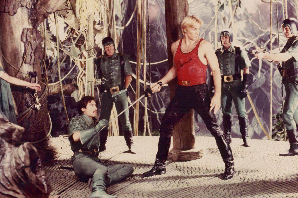 Actors Sam J Jones and Timothy Dalton in a scene from the film Flash Gordon, 1980.