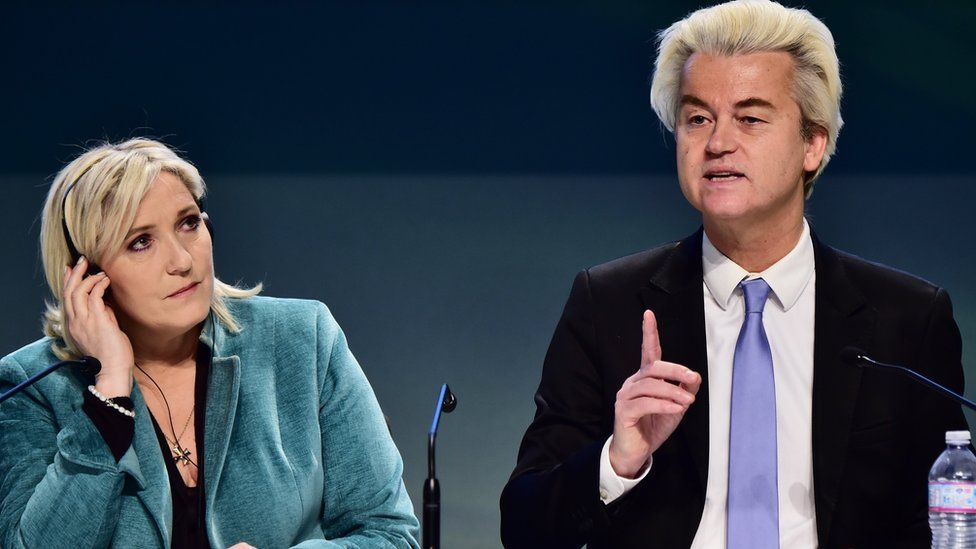 French National Front (FN) leader Marine Le Pen (L) and Dutch Freedom Party leader Geert Wilders (R) at first Europe of Nations and Freedom (ENF) congress in Milan, 29 Jan 16