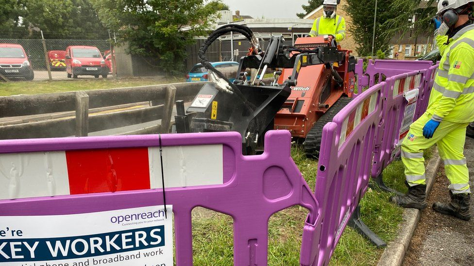 Fibre broadband being laid in ground
