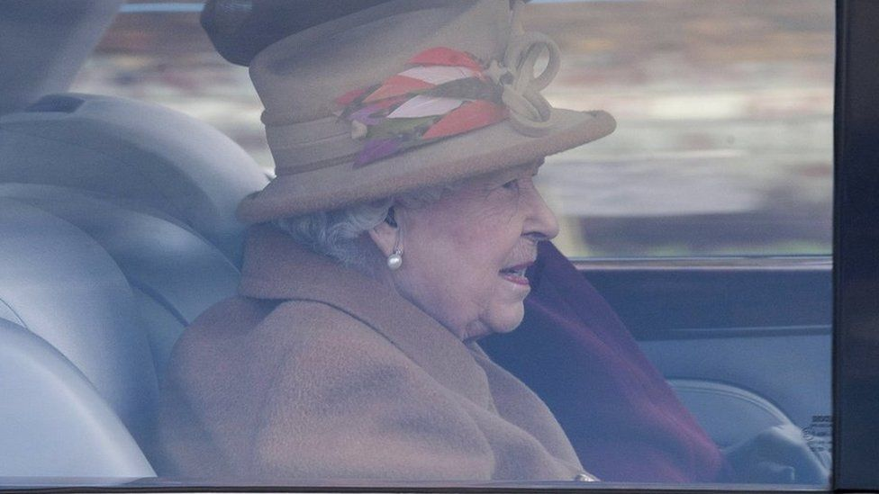 The Queen going to church at Sandringham