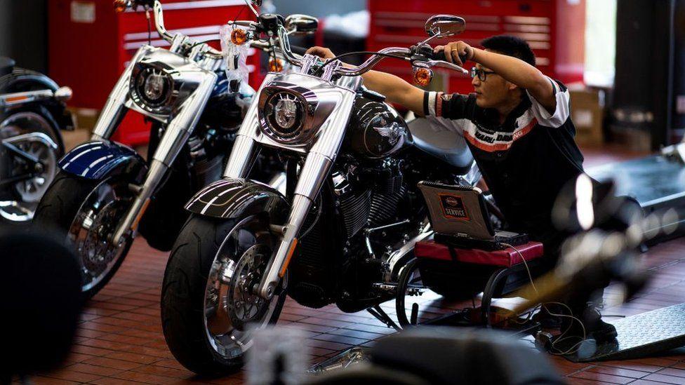Harley-Davidson motorbikes at a dealership in Shanghai