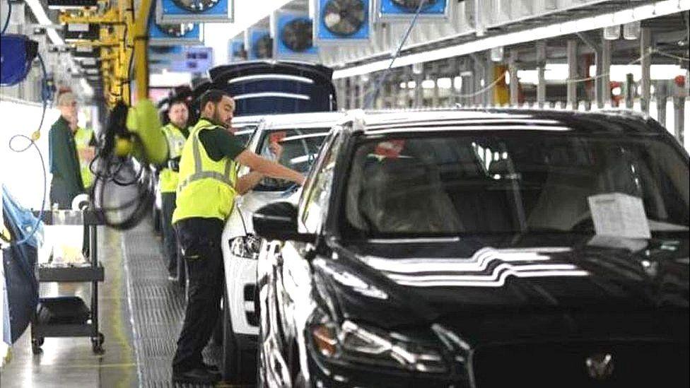 Jaguar Land Rover car assembly line