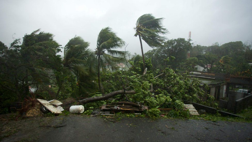 Pictures of Hurricane Maria's landfall from Guadeloupe