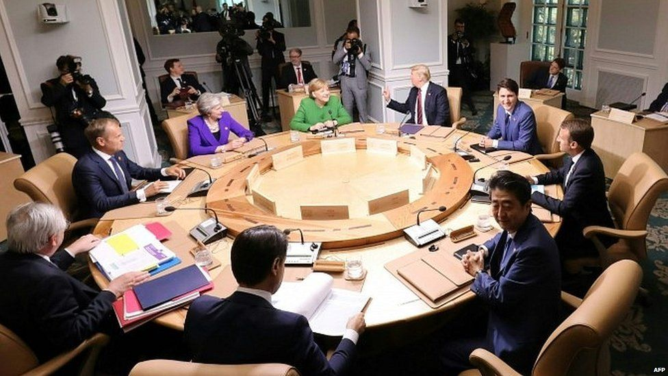 Roundtable session of G7 leaders in Quebec