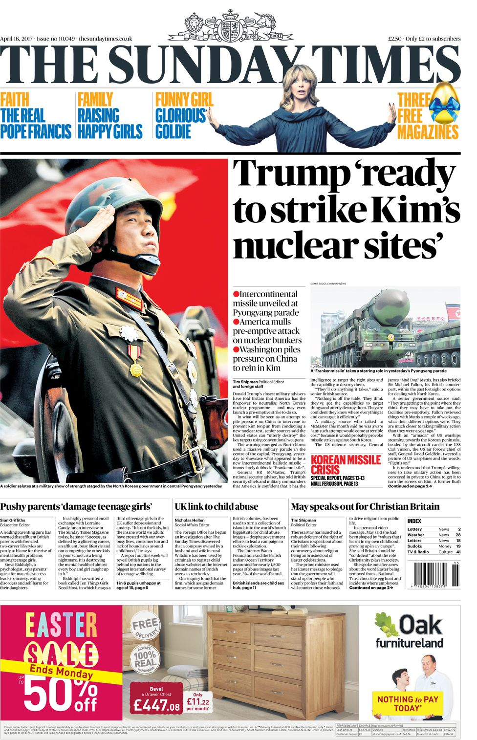 Sunday Times front page - 16/04/17