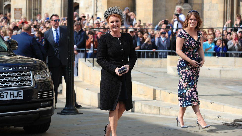 Sarah, Duchess of York, with her daughter Princess Eugenie arriving at York Minster