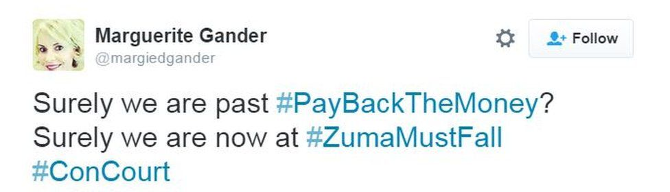 """tweet reading """"surely we are past pay back the money surely we are now at ZumaMustFall?"""""""