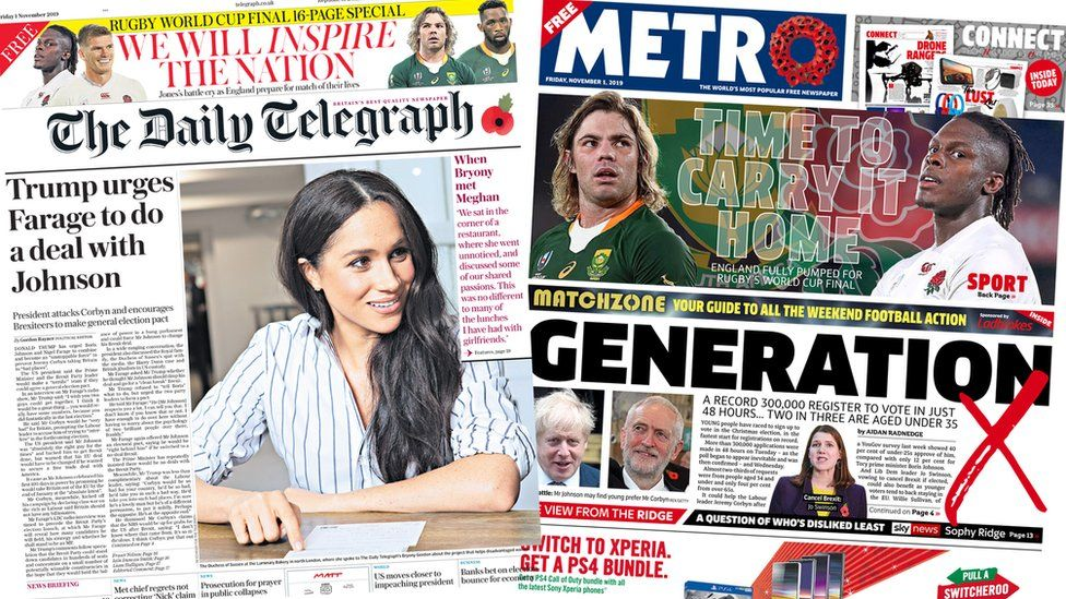 Front page of the Telegraph and the Metro