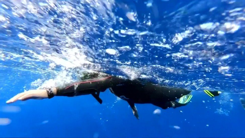 Ben Lecomte swimming in the ocean