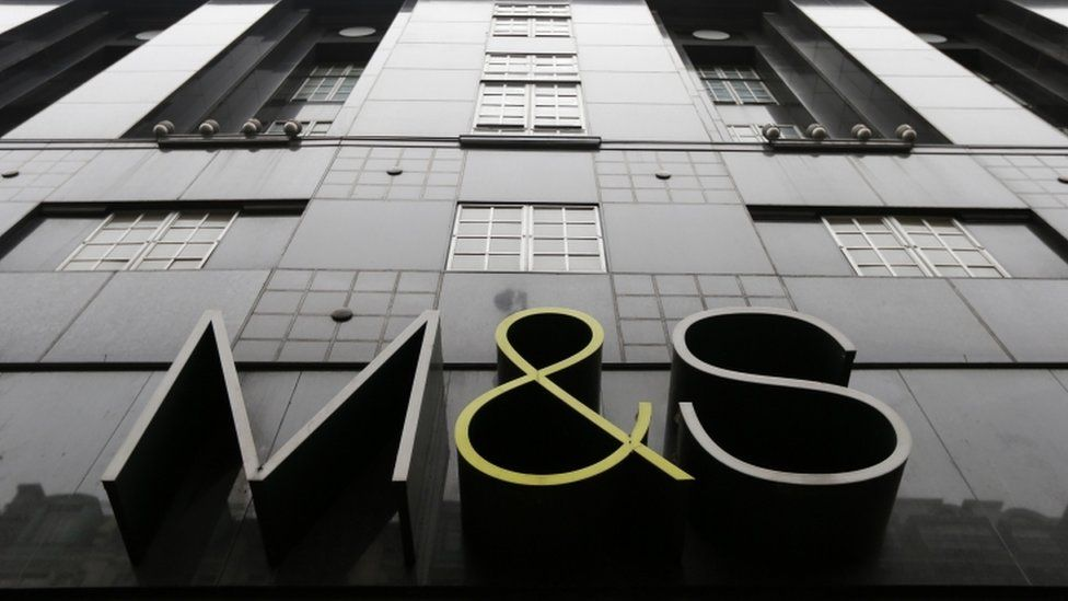 Marks and Spencer Shop sign on a branch in Oxford Street, central London