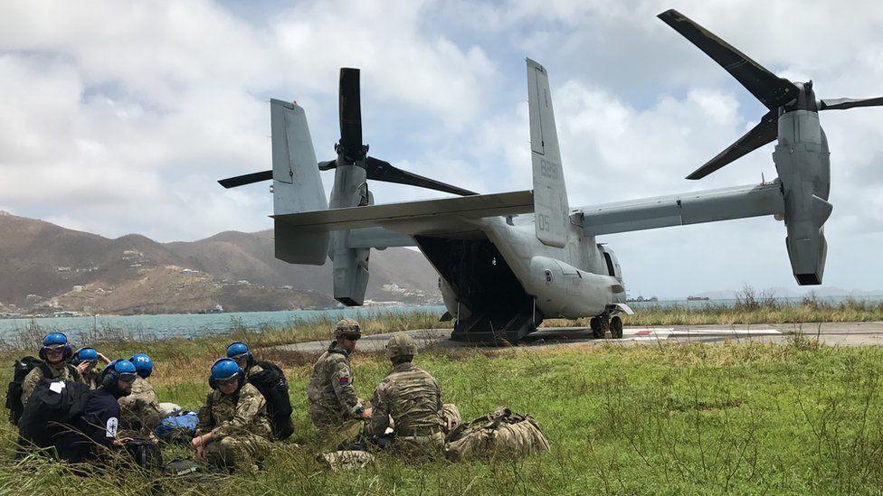 USMC Osprey drops supplies for British soldiers in the British Virgin Islands