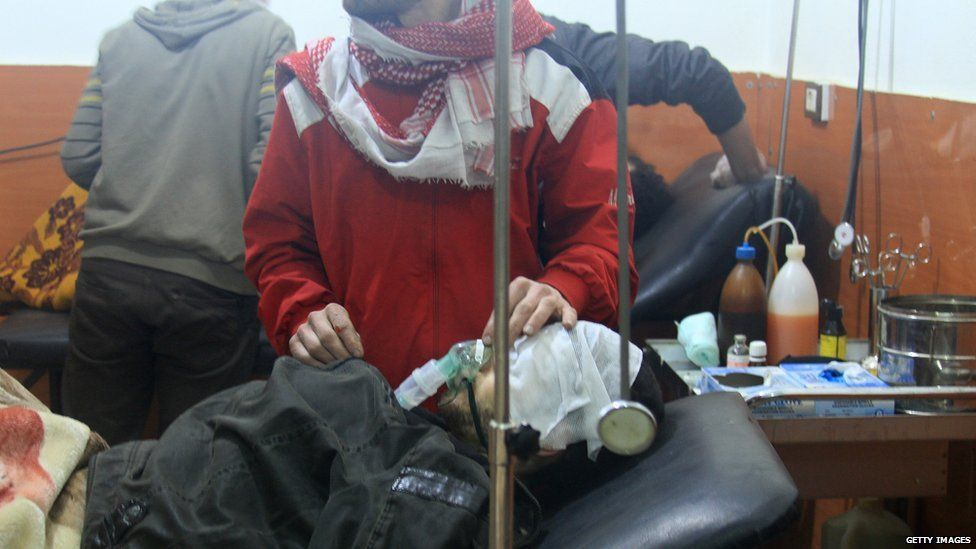 People treated at field hospital after alleged poison gas attack by pro-government troops in rebel-held city of Daraya. 13 January 2014