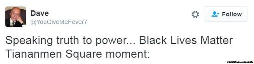 Tweet saying: Blacklivematter Tiananmen Square moment
