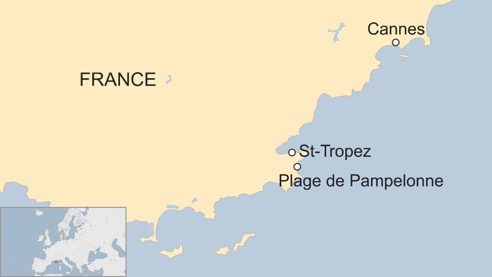 Map shows the location of Pampelonne beach near St Tropez, southern France