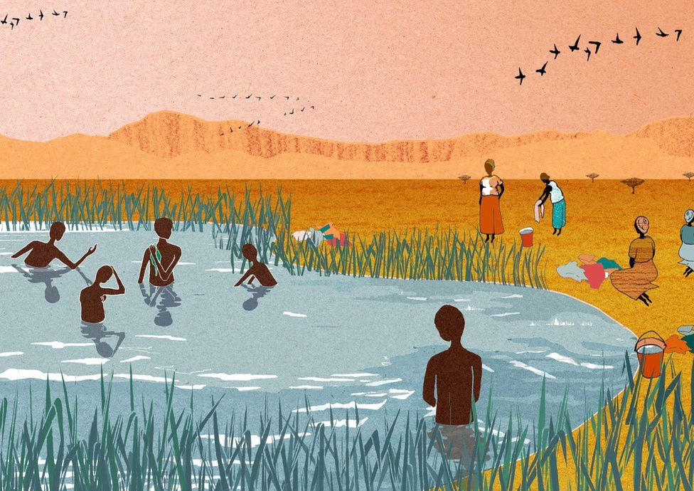 Illustration showing people bathing in Lake Victoria