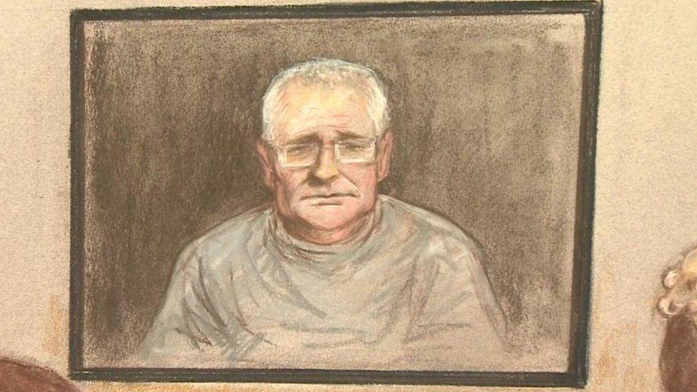 John Worboys appearing via videolink on screen inside High Court