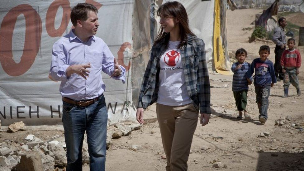 Justin Forsyth with Samantha Cameron in Lebanon in 2013