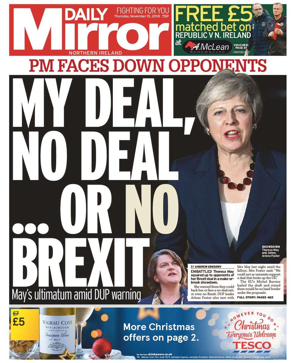 front page of Daily Mirror, Thursday 15 November 2018