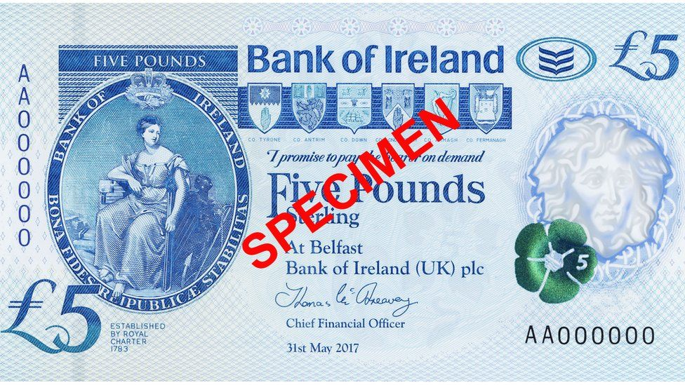 Bank of Ireland - front of £5 note
