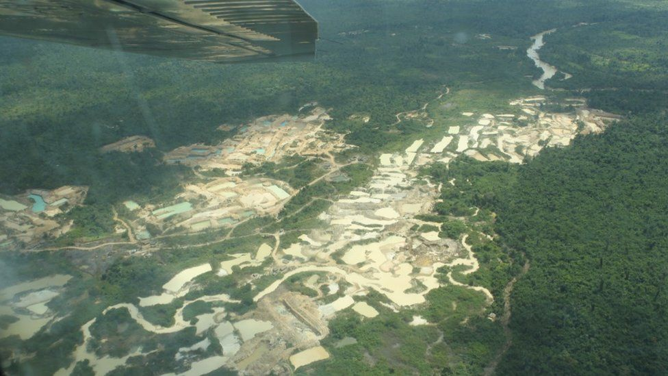 Aerial photo showing mining activity on indigenous lands