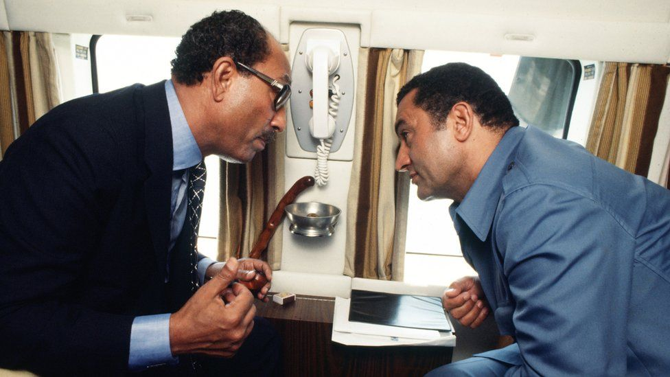 Anwar Sadat and Hosni Mubarak