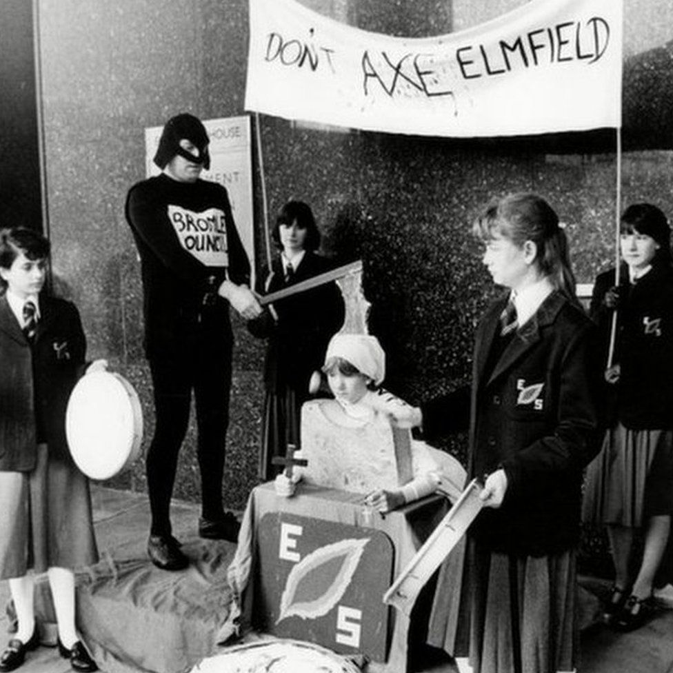 Pupils of Elmfield School demonstrate against the abolition of grammar schools