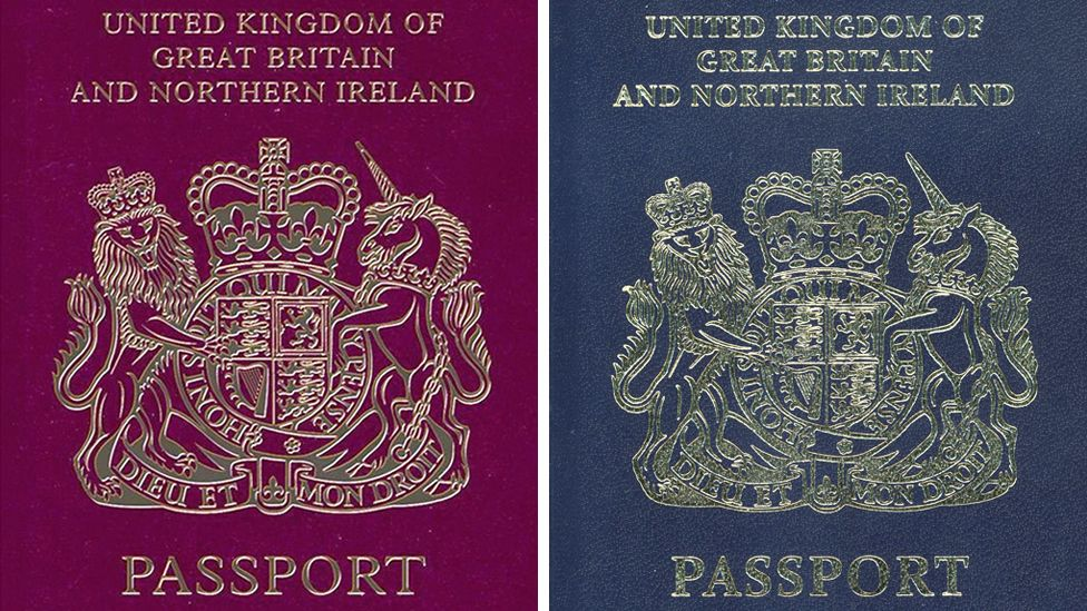 Composite of a red passport and an undated handout photo issued by the Home Office of how a British passport will look after Brexit. Issue date: Friday December 22, 2017
