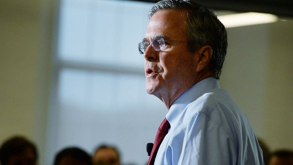 Former Florida Governor Jeb Bush speaks in New Hampshire.
