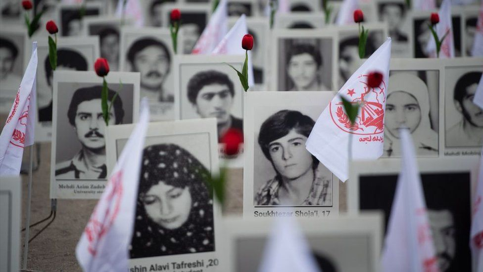 Around 800 portraits of executed prisoners are displayed by representatives in France of the People's Mujahedin of Iran in Paris on October 29, 2019