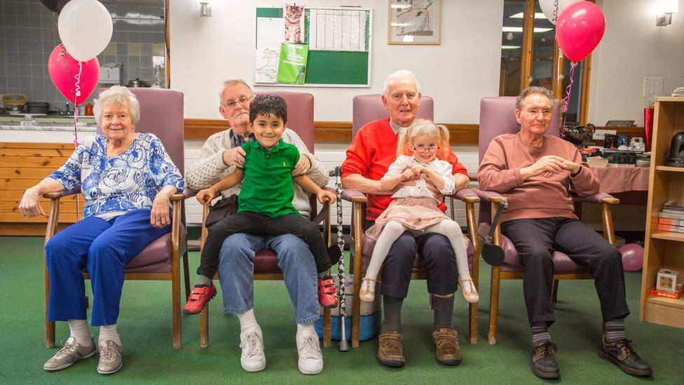 Mo, David, Arji, David, Peyton, Peter at the day centre in Colwyn Bay