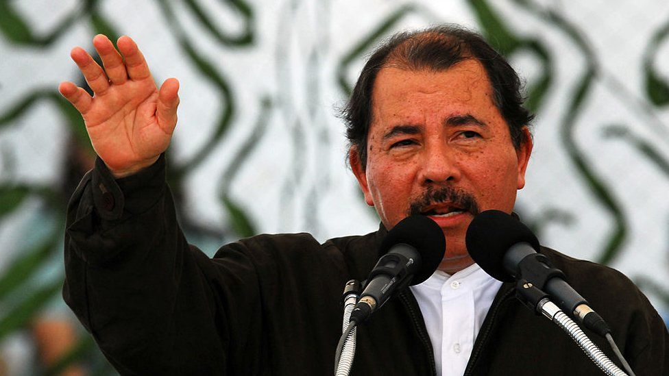 The president of Nicaragua Daniel Ortega gives a speech on the 30th anniversary of the country's army