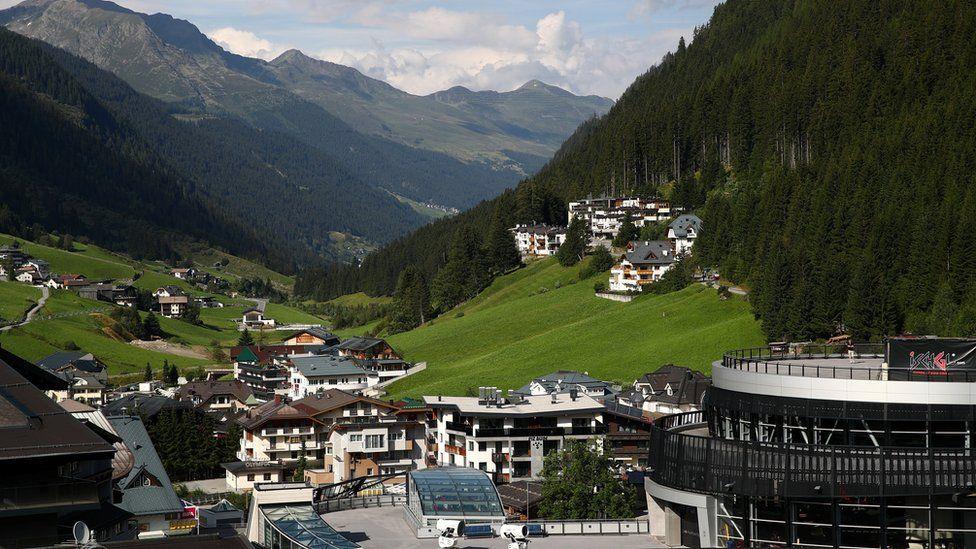 General shot of Ischgl ski village in Austria
