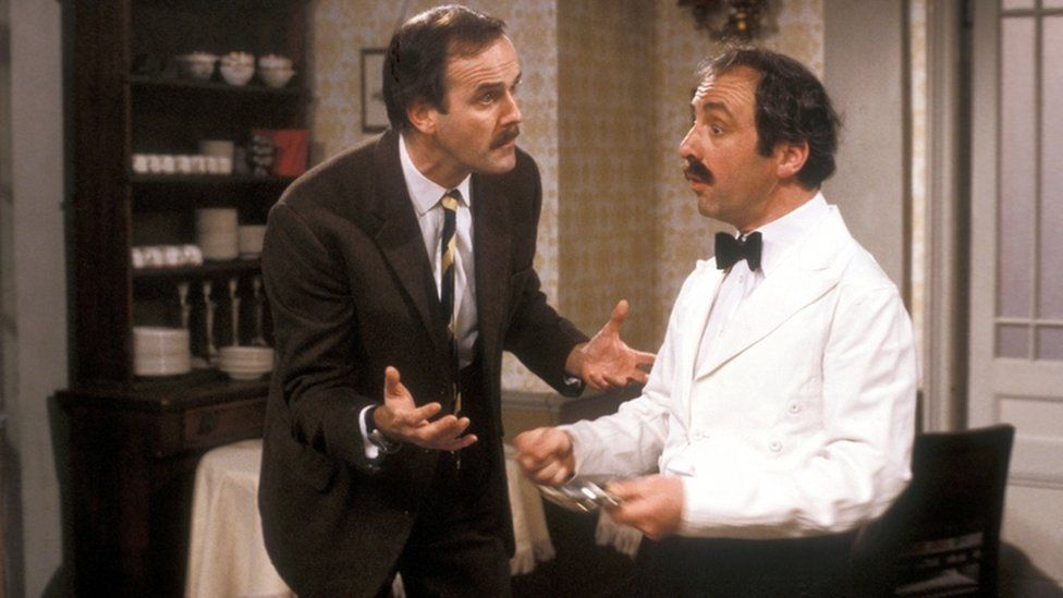 Andrew Sachs as Manuel with John Cleese as Basil Fawlty