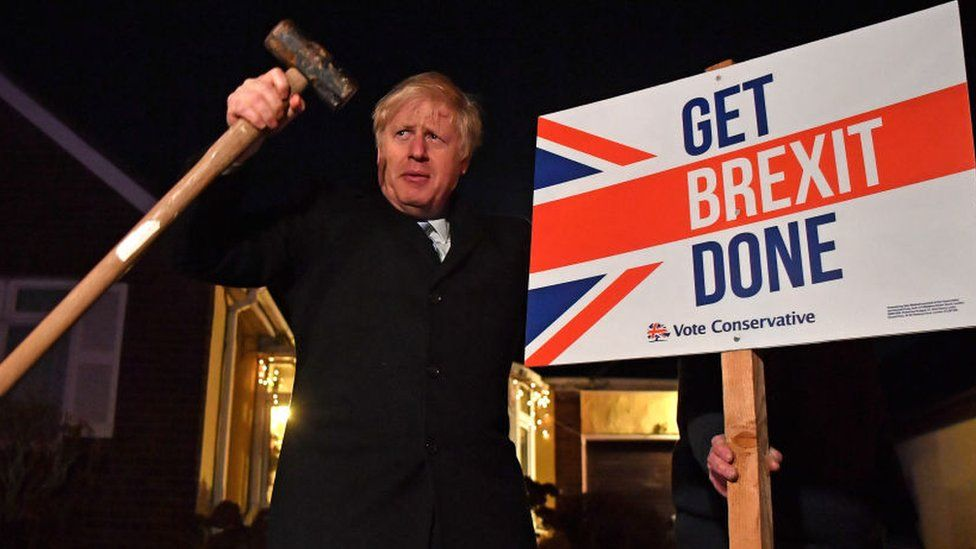 Boris Johnson holding a hammer next to a 'Get Brexit Done' sign