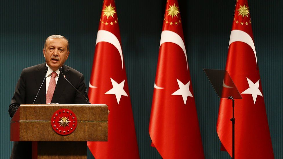 President Erdogan speaks at the Presidential Palace in Ankara, Turkey (July 20, 2016)