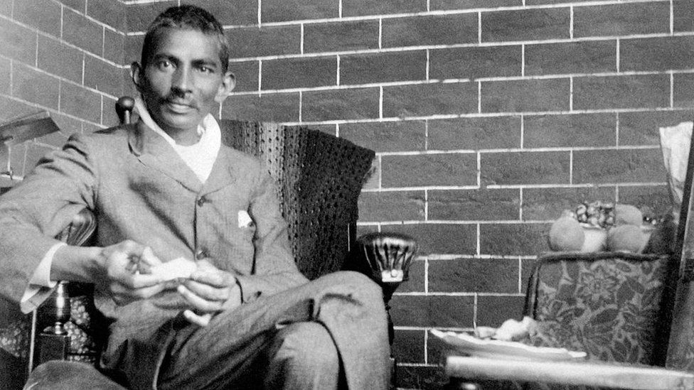 Indian lawyer, activist and statesman Mohandas Karamchand Gandhi recuperating after being severely beaten in South Africa, 18th February 1908.