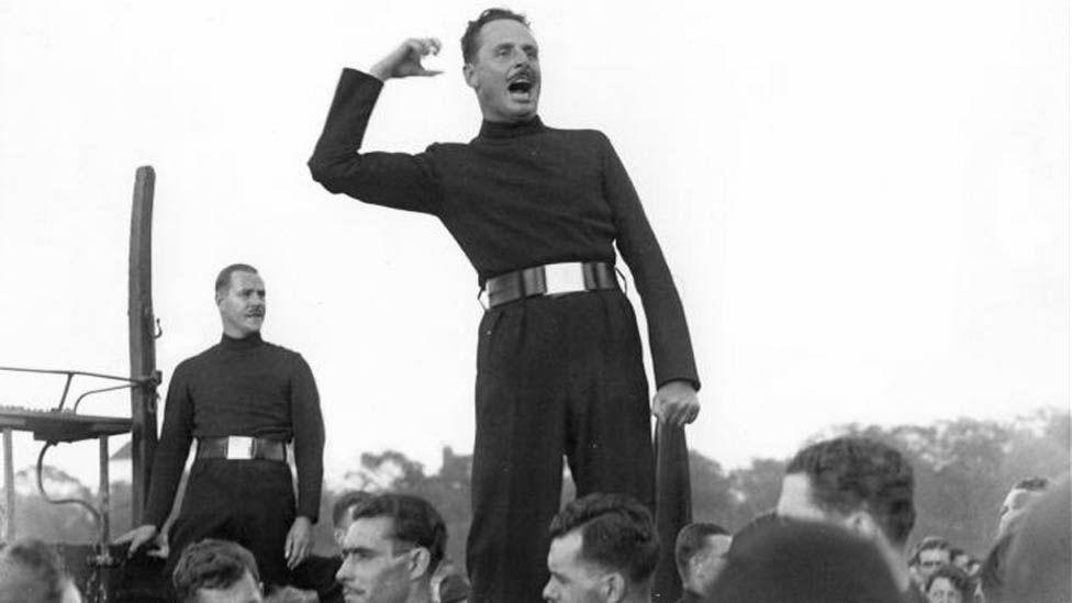 Sir Oswald Mosley at an open air meeting in 1934