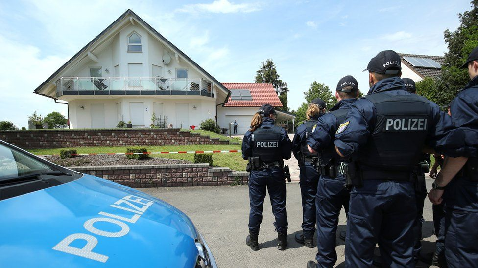 German police officers arrive at the house of District President of Kassel Walter Luebcke, who was found dead, to search neighbouring properties in Wolfhagen-Istha near Kassel, Germany, June 3, 2019.
