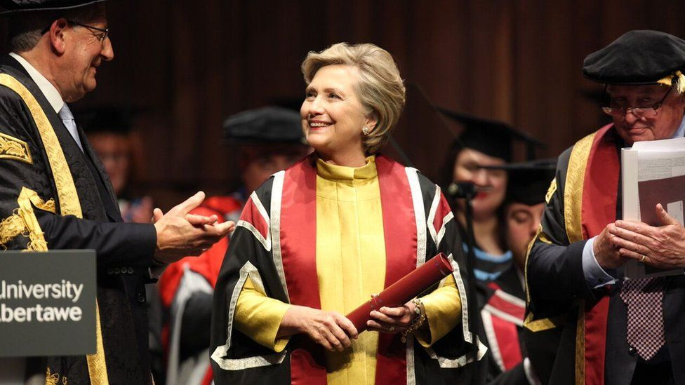 Hilary Clinton accepting honorary doctorate