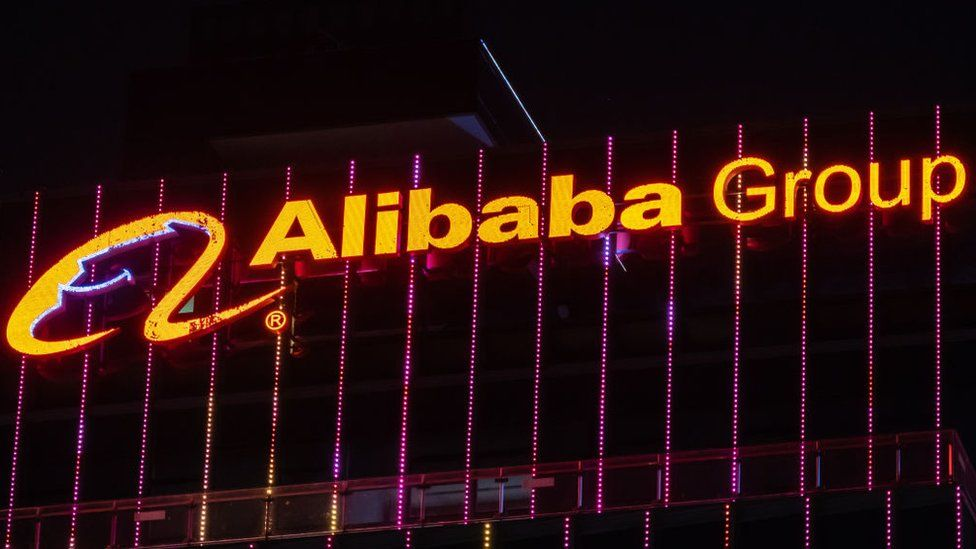 Alibaba sign on headquarters in Shenzhen