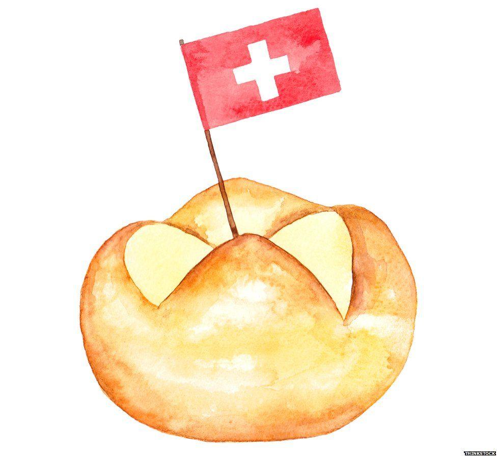 A Swiss flag in a bread bun