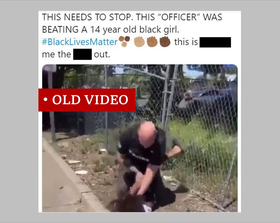 Screenshot of a Tweet showing a video from April of a boy being arrested. The Tweet is misleading and says it involves a girl and does not indicate that the incident happened before the current wave of protests