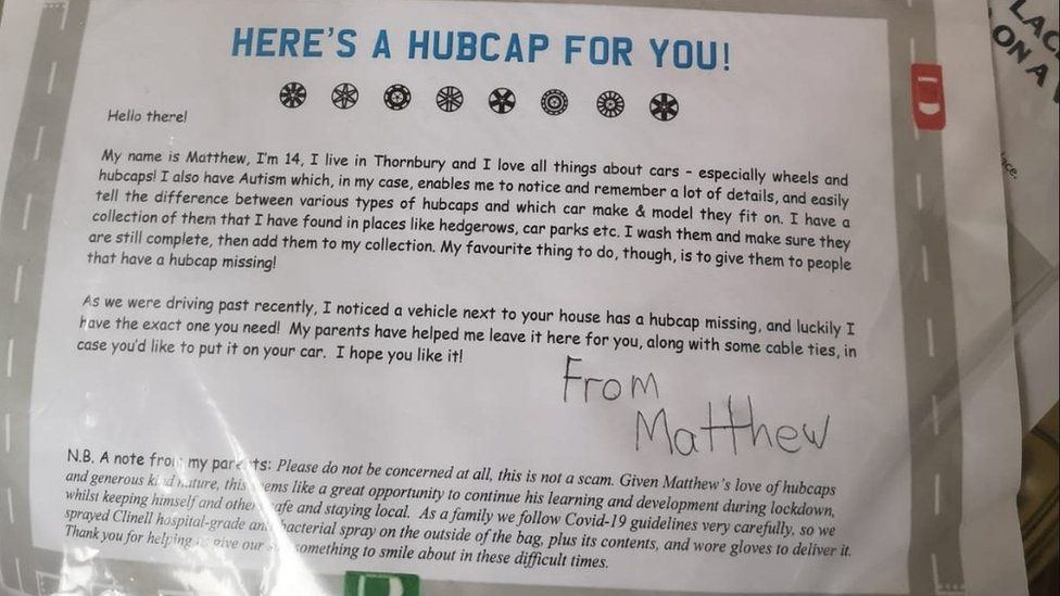 The note Matthew left when he dropped a hubcap off