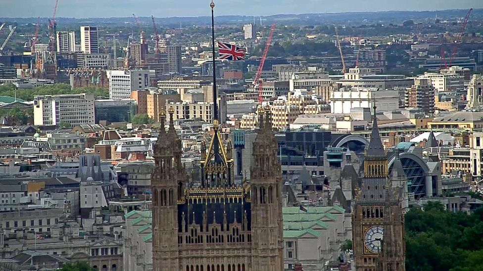 Parliament's flag was flying at half mast