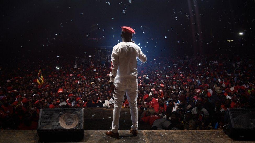 Bobi Wine appears on stage on the outskirts of Kampala
